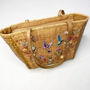 Cappelli Straw Handbag Embroidered Beaded Bird Flowers